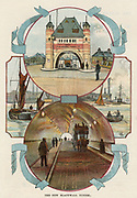 Blackwall Tunnel, London, opened 1897.This tunnel,the older Western tunnel, connects the Essex and Kent sides of the Thames. Designed by the London County Council's  chief engineer Alexander Binnie (1839-1917), the latest techniques were used in its construction. James Henry Greathead's (1844-1896) tunelling shield was employed. The tunnel was lined with glazed white brick and lit by electric light. It had two lanes for wheeled traffic and footpaths for pedestrians. View of entrance, of river, and of traffic in tunnel. From 'Bubbles' c1900 published by Dr Barnados Homes for Children. Oleograph