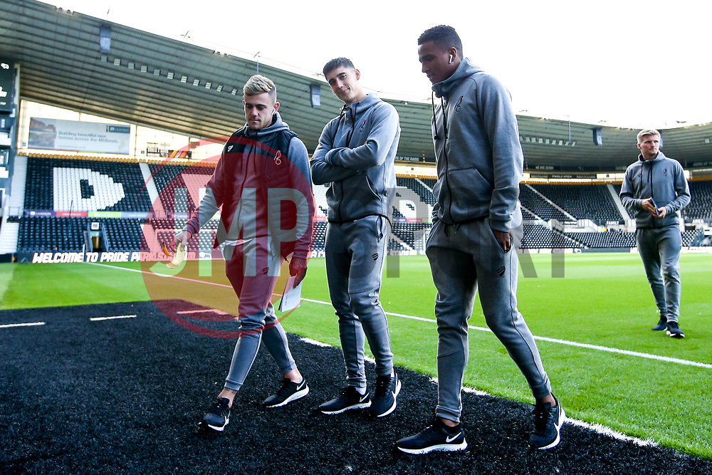 Niclas Eliasson, Callum O'Dowda and Sammie Szmodics of Bristol City arrive at Pride Park for the Sky Bet Championship fixture against Derby County  - Mandatory by-line: Robbie Stephenson/JMP - 20/08/2019 - FOOTBALL - Pride Park Stadium - Derby, England - Derby County v Bristol City - Sky Bet Championship