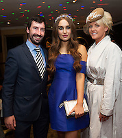30/07/2015 report free :   Roz Purcell  with John Faller Faller's Jewellers  and Sandra Elwood Galway at the 4 star Hotel Meyrick's Most Stylish Lady competition, and John Faller Faller's  for Ladies Day Galway Race week 2015, Judges were by leading Irish Model Rozanna Purcell,  Mandy Maher Catwalk Models and Mary Lee , Model The winners received an amazing €2,000 prize package from Fallers of Galway . Photo:Andrew Downes, xposure