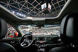 View from inside Kia Sportage car on arena and TV bog on the ceiling during final match of Basketball NLB League at Final Four tournament between KK Union Olimpija (SLO) and Partizan Belgrade (SRB), on April 21, 2011 at SRC Stozice, Ljubljana, Slovenia. (Photo By Matic Klansek Velej / Sportida.com)
