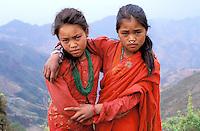 Nepal - Province de Nuwakot - Jeunes filles d'ethnie Tamang