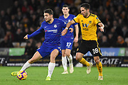 Chelsea Midfielder Mateo Kavacic battles with Wolverhampton Wanderers midfielder Joao Moutinho (28) during the Premier League match between Wolverhampton Wanderers and Chelsea at Molineux, Wolverhampton, England on 5 December 2018.
