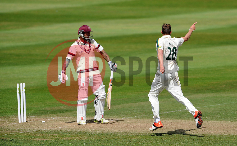 Nottinghamshire's Jake Ball celebrates the wicket of Somerset's Peter Trego. - Photo mandatory by-line: Harry Trump/JMP - Mobile: 07966 386802 - 15/06/15 - SPORT - CRICKET - LVCC County Championship - Division One - Day Two - Somerset v Nottinghamshire - The County Ground, Taunton, England.