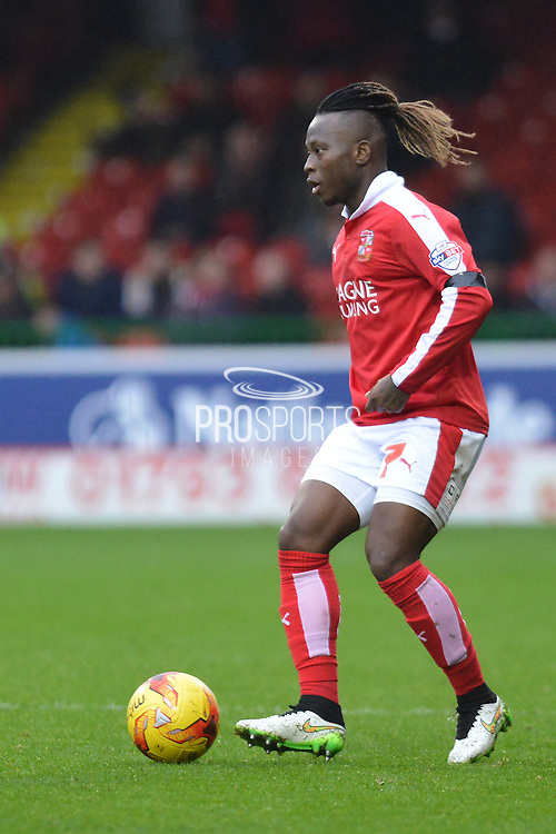 Swindon Town midfielder Drissa Traore controls the ball during the Sky Bet League 1 match between Swindon Town and Scunthorpe United at the County Ground, Swindon, England on 14 November 2015. Photo by Mark Davies.