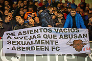 Rangers fans display a derogatory banner for Aberdeen FC during the Ladbrokes Scottish Premiership match between Hibernian and Rangers at Easter Road, Edinburgh, Scotland on 8 March 2019.