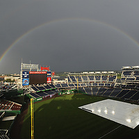 23 June 2008:  A double rainbow appears over Nationals Park in Washington, D.C. prior to the game between the Los Angeles Angels and the Washington Nationals.  The Los Angeles Angels defeated the Washington Nationals 3-2 in interleague play at Nationals Park in Washington, D.C.   ****For Editorial Use Only****