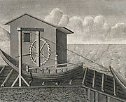 Rolling bridge or inclined plane to raise boat on a canal.  Engraving.