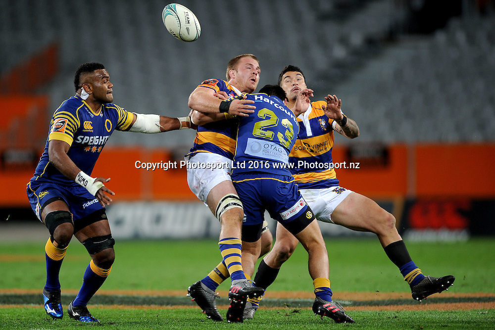 Sam Cane of Bay of Plenty looses the ball in contact during the Mitre 10 Competition match between Otago and Counties at Forsyth Barr Stadium on October 8, 2016 in Dunedin, New Zealand. Credit: Joe Allison / www.Photosport.nz