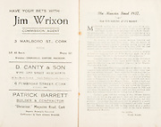 "Munster Minor and Senior Hurling Championship Final,.25.07.1937, 07.25.1937, 25th July 1937,.25071937MSMHCF,...Jim Wrixon Commision agent, 3 Malboro St Cork,..D Canty & Son WIne and spirit merchants, 6 Pembroke St Cork,..Patricj Barrett Builder and Contractor, ""Glenanaar"" Magazine Road Cork,.The Munster Final 1937, ""Old Time Hurling and it's highest"""