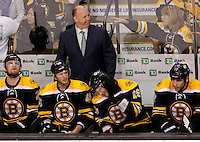 A Boston Bruins fan points in the direction of Bruins head coach Claude Julien during a break in the action against the Washington Capitals in game five of the NHL Eastern Conference Quarterfinal against the Boston Bruins at TD Garden in Boston, Massachusetts on April 12, 2012. The Capitals defeated the Bruins 4-3.    UPI/Matthew Healey