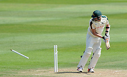 Nottinghamshire's Jake Ball is bowled by Somerset's Tim Groenewald. - Photo mandatory by-line: Harry Trump/JMP - Mobile: 07966 386802 - 15/06/15 - SPORT - CRICKET - LVCC County Championship - Division One - Day Two - Somerset v Nottinghamshire - The County Ground, Taunton, England.