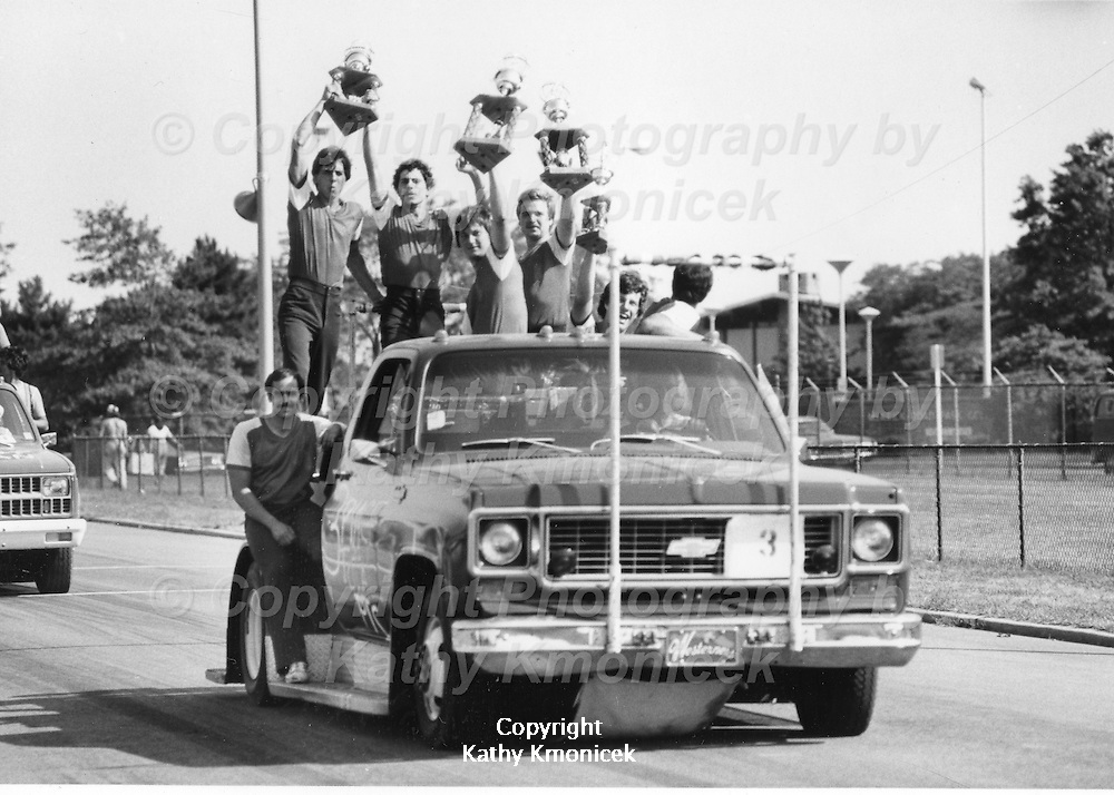 The West Hempstead Fire Department Westerners racing team with their trophies at a tournament in July of 1982.