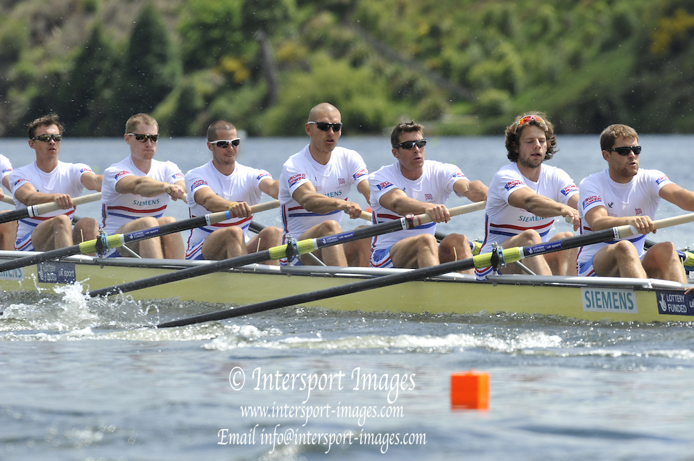 Hamilton, NEW ZEALAND.  GBR M8+, Bow, [left], James CLARKE, Cameron NICHOL, James FOAD, Mohamed SBIHI Greg SEARLE, Tom RANSLEY, Dan RICHIE,  start Men's eights Heats  2010 World Rowing Championships on Lake Karapiro, Tuesday - 02.11.2010, [Mandatory Credit Peter Spurrier:Intersport Images].