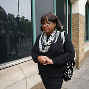 Stoke Newington Police, London, England, UK. 29th July 2017. Diane Abbott leaving after a speaks at Justice For Rashan and Edson Da Costa protest & vigil at the front of Stoke Newington Police.