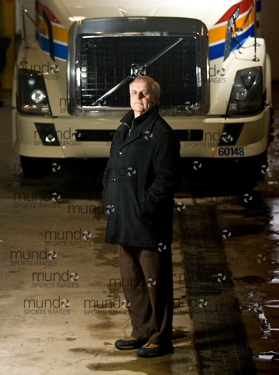 Cambridge, Ontario ---01/02/08--- Challenger Motor Freight President Eugene Moser stands in front of one of his trucks at the company's facility in Cambridge, Ontario, February 1, 2008..GEOFF ROBINS The Globe and Mail