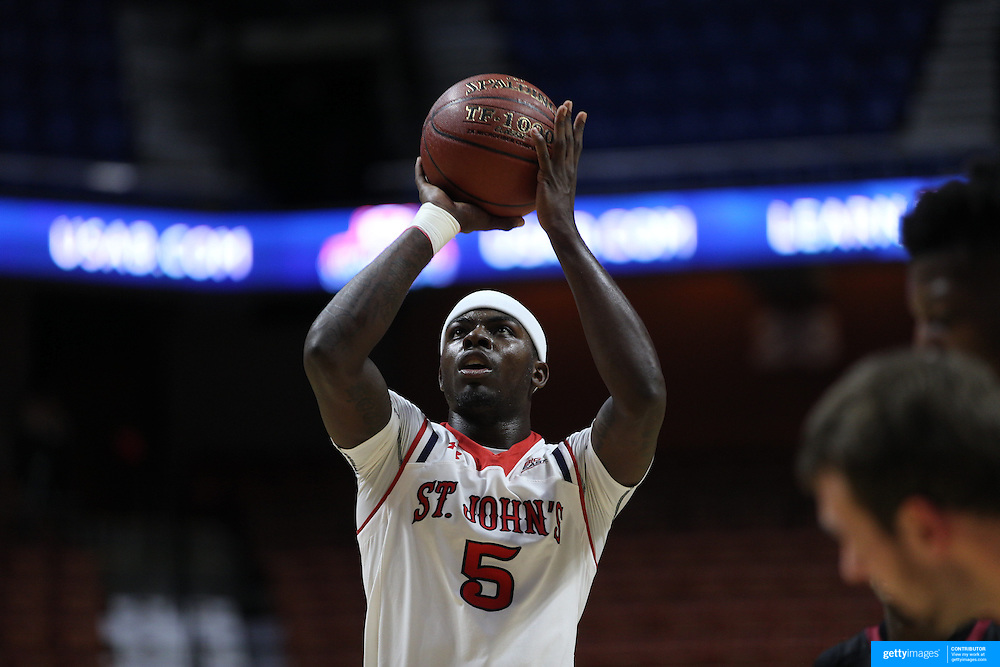 Durand Johnson, St. John's, shoots a free throw during the St. John's vs South Carolina Men's College Basketball game in the Hall of Fame Shootout Tournament at Mohegan Sun Arena, Uncasville, Connecticut, USA. 22nd December 2015. Photo Tim Clayton
