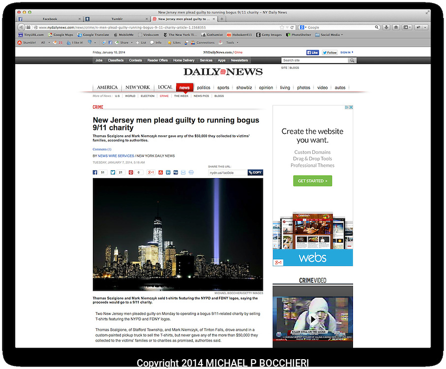 DIGITAL TEARSHEET:  January 10, 2014 in NEW YORK, NY.  (Photo by Michael Bocchieri/Bocchieri Archive)<br /> <br /> PUBLICATION DATE: January 7, 2014<br /> PUBLICATION: NEW YORK DAILY NEWS <br /> CAPTION:  Thomas Scalgione and Mark Niemczyk sold t-shirts featuring the NYPD and FDNY logos, saying the proceeds would go to a 9/11 charity.<br /> URL: http://www.nydailynews.com/news/crime/n-men-plead-guilty-running-bogus-9-11-charity-article-1.1568355