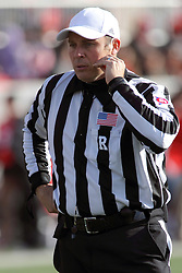 08 November 2014: Referee: Chris La Mange during an NCAA Missouri Valley Football Conference game between the Youngstown State Penguins and the Illinois State Redbirds at Hancock Stadium in Normal Illinois