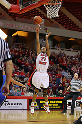 19 January 2008: Kenyatta Shelton is left all alone for a lay up.  Both the Indiana State Sycamores and the Illinois State Redbirds came to this game tied for 1st place and defeated in the Missouri Valley Conference.  The Redbirds in their 11th consecutive game 77-70 on Doug Collins Court inside Redbird Arena in Normal Illinois