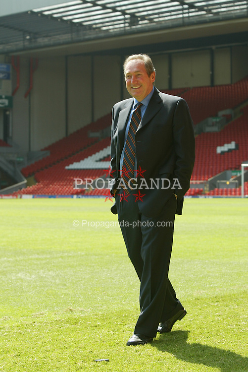 LIVERPOOL, ENGLAND - MONDAY, MAY 24, 2004: Liverpool's manager Gerard Houllier on the pitch at Anfield after a press conference to announce his departure from the club. (Photo by David Rawcliffe/Propaganda)