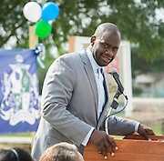 Jerry Davis comments during groundbreaking ceremonies for the Mickey Leland College Preparatory Academy, April 16, 2015.