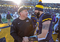 Nov 10, 2018; Morgantown, WV, USA; West Virginia Mountaineers quarterback Will Grier (7) talks with TCU Horned Frogs head coach Gary Patterson after the game at Mountaineer Field at Milan Puskar Stadium. Mandatory Credit: Ben Queen-USA TODAY Sports