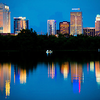 ORLANDO, FL -- Twilight falls over downtown Orlando and Lake Ivanhoe Park.  (Photo / Chip Litherland)