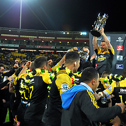Dane Coles celebrates winning the Super Rugby final match between the Hurricanes and Lions at Westpac Stadium, Wellington, New Zealand on Saturday, 6 August 2016. Photo: Dave Lintott / lintottphoto.co.nz