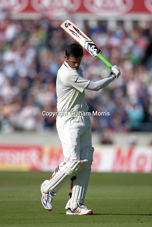 Rahul Dravid is finally out (in the second innings after being not out for 146 in the first before the follow on) during the fourth and final npower Test Match between England and India at the Oval, London.  Photo: Graham Morris (Tel: +44(0)20 8969 4192 Email: sales@cricketpix.com) 21/08/11