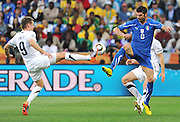 Vincenzo Iaquinta of Italy battles for the ball during the 2010 FIFA World Cup South Africa Group F match between Italy and New Zealand at the Mbombela Stadium on June 20, 2010 in Nelspruit, South Africa.
