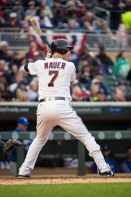 MINNEAPOLIS, MN- APRIL 3: Joe Mauer #7 of the Minnesota Twins bats against the Kansas City Royals on April 3, 2017 at Target Field in Minneapolis, Minnesota. The Twins defeated the Royals 7-1. (Photo by Brace Hemmelgarn) *** Local Caption *** Joe Mauer