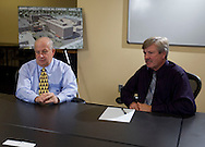 Chairman Thomas Hayden and President James Lee talk to Gazette reporter Dave DeWitte at Shive-Hattery's Cedar Rapids office, 316 2nd Street SE, Suite 500, in Cedar Rapids on Tuesday, October 23, 2012.
