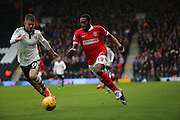 Charlton Athletic defender, Zakarya Bergdich (19) on the attack during the Sky Bet Championship match between Fulham and Charlton Athletic at Craven Cottage, London, England on 20 February 2016. Photo by Matthew Redman.