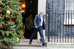 "© Licensed to London News Pictures. 18/12/2018. London, UK. Sajid Javid - Home Secretary departs from No 10 Downing Street after attending the weekly Cabinet Meeting that discussed the preparations for a ""No Deal"" Brexit. Photo credit: Dinendra Haria/LNP"