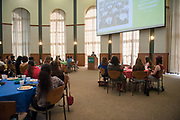 Mentors and mentees listen to Gigi Secuban speak during the Women's Mentoring Meet and Greet event on Sept. 4, 2018 in Walter Rotunda. Photo by Hannah Ruhoff