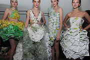"Models wear designs made of SUBWAY packaging at the ""Project SUBWAY"" fashion show during New York Fashion Week, Wednesday, September 11, 2013, as part of SUBWAY Restaurants' SUBtember celebration.   (Photo by Diane Bondareff/Invision for Subway Restaurants/AP Images)"
