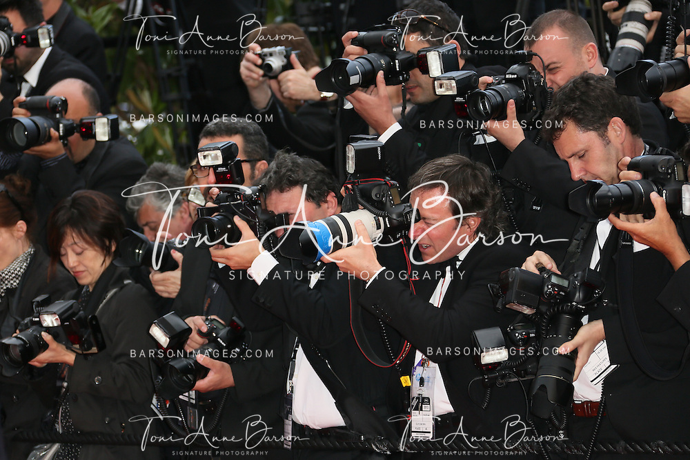 CANNES, FRANCE - MAY 19:  View of photographers during the Premiere of 'Inside Llewyn Davis' at The 66th Annual Cannes Film Festival on May 19, 2013 in Cannes, France.  (Photo by Tony Barson/FilmMagic)