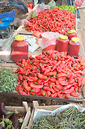piles of red peppers in the market in<br /> Kas, south coast  Turkey<br /> c. Ellen Rooney