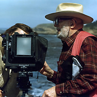 Ansel Adams working at Point Lobos, California  during our 1982 Friends of Photography workshop.