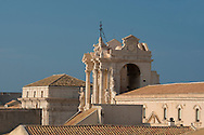 A rooftop view of the Duomo (Santa Maria delle Colonne) in Ortigia, Syracuse, Sicily, Italy