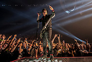 Green Day lead vocalist Billie Joe Armstrong sings before the crowd while performing at the MGM Grand Garden Arena on Friday, April 7, 2017.    L.E. Baskow