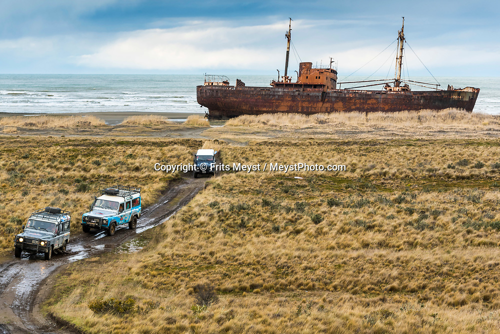 Ushuaia, Tierra del Fuego, Argentina, June 2017. By 4x4 vehicle we travel over the winding roads through the pampa to the lighthouse on Cabo San Pablo, a rock with a wide view over he low lying steppe, the Atlantic ocean and the shipwreck of the 'Desdemona' a freighter that ran aground on the shallow coastline. Photo by Frits Meyst / MeystPhoto.com
