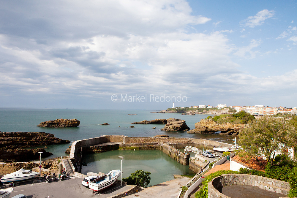 A view of the old port and the Grand Plage in Biarritz, France.