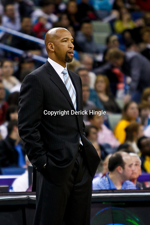 December 3, 2010; New Orleans, LA, USA; New Orleans Hornets head coach Monty Williams during the first half against the New York Knicks at the New Orleans Arena. Mandatory Credit: Derick E. Hingle