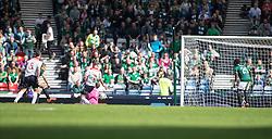 Hibernian's Farid El Alagui hits the side netting.<br /> Hibernian 0 v 1 Falkirk, William Hill Scottish Cup semi-final, played 18/4/2015 at Hamden Park, Glasgow.