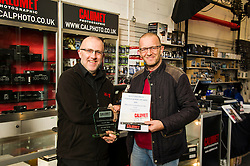 Pictured: Wullie Marr collects his trophy from John Douglas, manager of the Edinburgh branch of Calumet photographic.<br /> <br /> The Scottish Press Photography Awards 2016 were handed out to their worthy winners today with Wullie Marr, Deadline News, picking up Scottish Press Photographer of the year along with trophies for Politics and Art and Enetrtainment categories.<br /> <br /> Ger Harley | EEm 1 November 2016