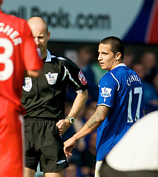 LIVERPOOL, ENGLAND - Saturday, September 27, 2008: Everton's Tim Cahill is dejected after being sent off by referee Mike Riley during the 208th Merseyside Derby match against Liverpool at Goodison Park. (Photo by David Rawcliffe/Propaganda)
