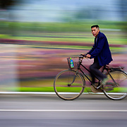A bicycle rider heads to work near Yang Shao China.
