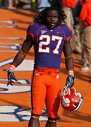 November 21, 2009; Clemson, SC, USA;  Clemson Tigers safety Sadat Chambers (27) before the game against the Virginia Cavaliers at Memorial Stadium.  Clemson defeated Virginia 34-21.