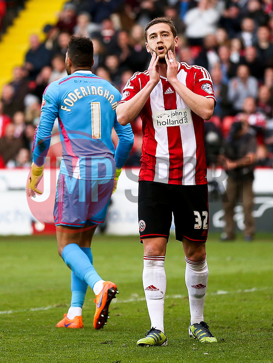 Steve Davies of Sheffield United reacts after missing a chance - Photo mandatory by-line: Matt McNulty/JMP - Mobile: 07966 386802 - 07/05/2015 - SPORT - Football - Sheffield - Bramall Lane - Sheffield United v Swindon Town - Sky Bet League One